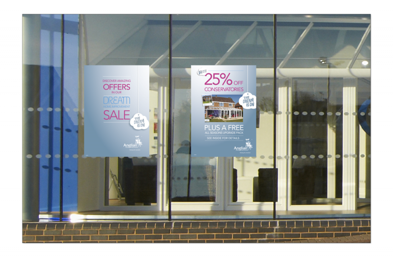An image of Anglian Home Improvements Dream Sale Poster in a showroom window