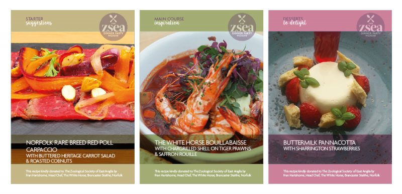 Image of menus featured in fundraising campaign pack