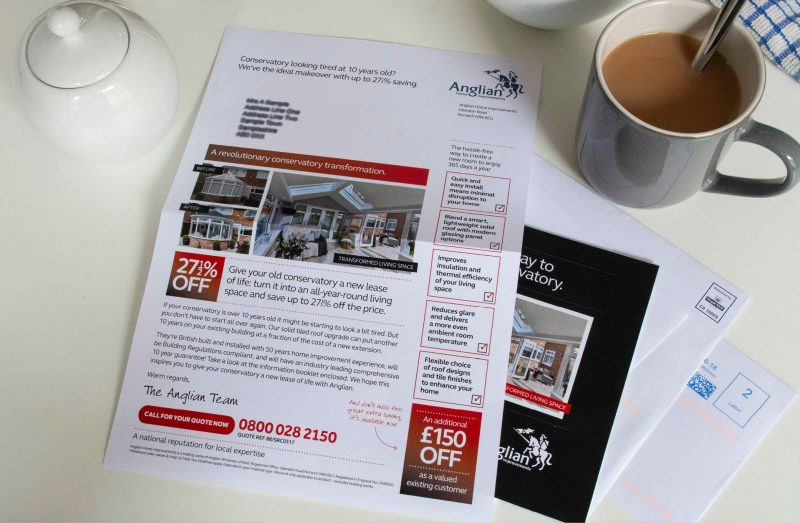 Anglian Home Improvements Direct Mail pack