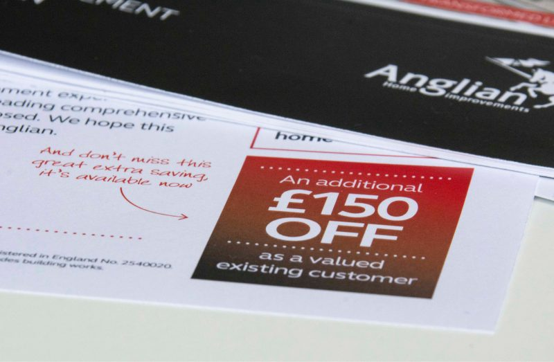 Anglian Home Improvements Direct Mail - close up of incentive offer