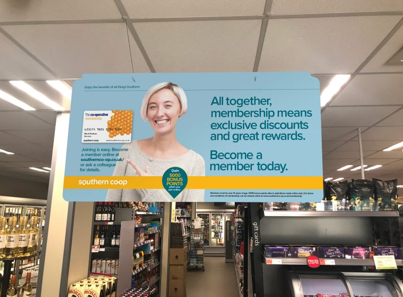 Southern Co-op Membership Campaign point of sale board